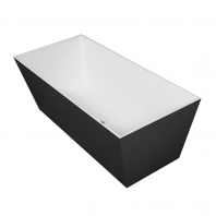 Omnires London 159 Freestanding Bathtub Black/White Polished Marble