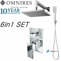 Omnires Bath Bathroom Shower Rain Twin Head Valve Mixer Concealed Tap Handset