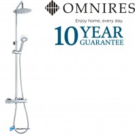 Omnires Round Thermostatic Tap Valve Shower Mixer Rain Overhead Head Rail Hose