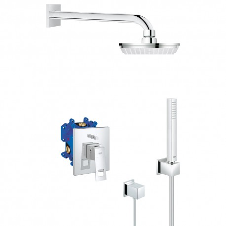 Grohe Eurocube Set Square Rainshower Mixer Kit Concealed Rapido E
