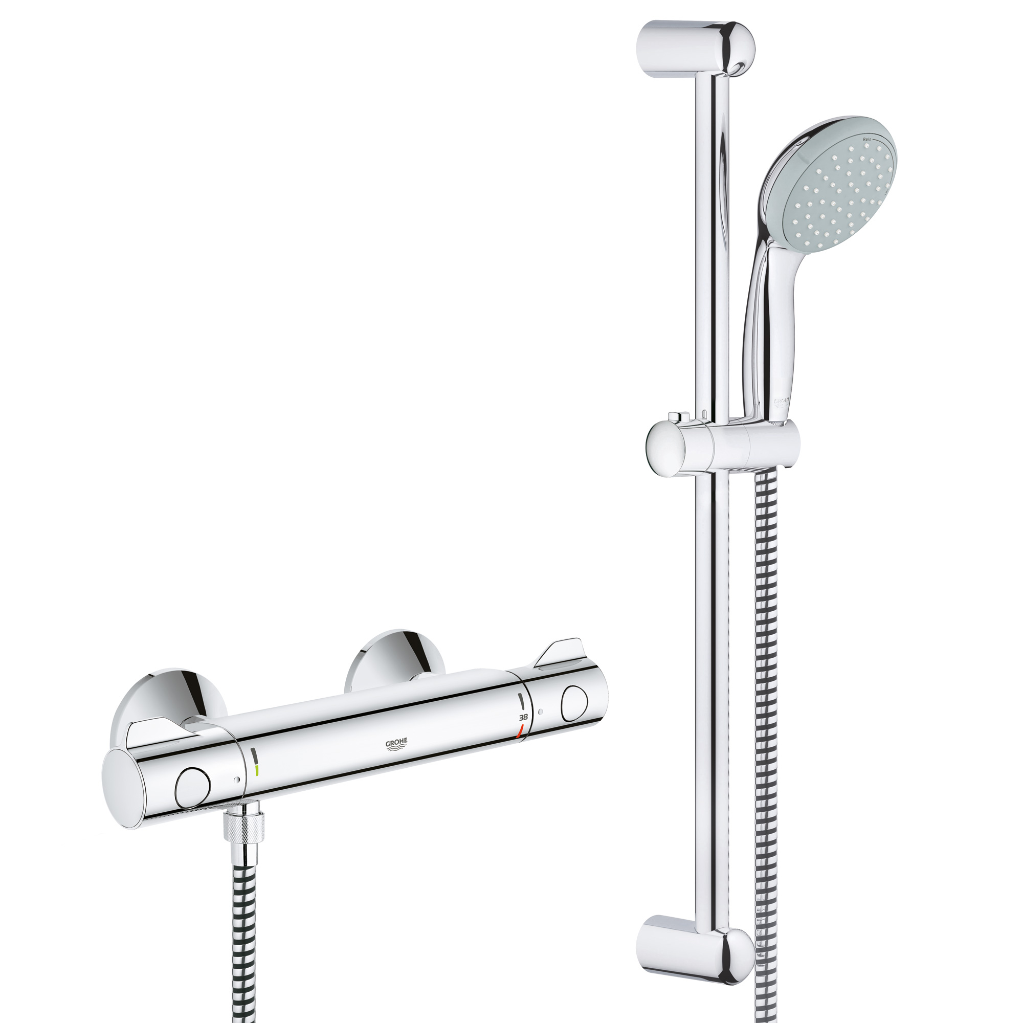 flange bar function chrome package arm shower grohe system hand and single trim head rain slide europlus with starlight