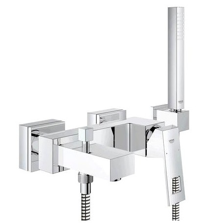 Grohe Eurocube Single Lever Bath Mixer Tap Wall Mounted With Shower Kit