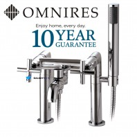 Omnires Modern 2 Hole Bath Mixer Tap Deck Mounted Chrome Cross Head