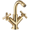 Omnires Modern Retro Bidet Mixer Tap Gold Pvd With Click Clack Waste