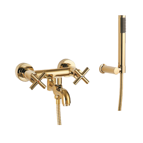 Omnires Modern Bath Mixer Tap Single Lever Gold Pvd With Shower Head And Shower Hose