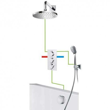 Omnires Y Bath Shower Thermostatic Concealed Mixer Tap Shower Valve 7in1 Set