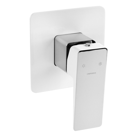 Omnires Parma Concealed Shower Mixer Tap Single Lever Chrome/White