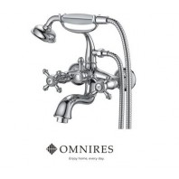 Omnires Retro Bath Mixer Tap Monoblock Chrome Wall Mounted With Shower Head And Shower Hose