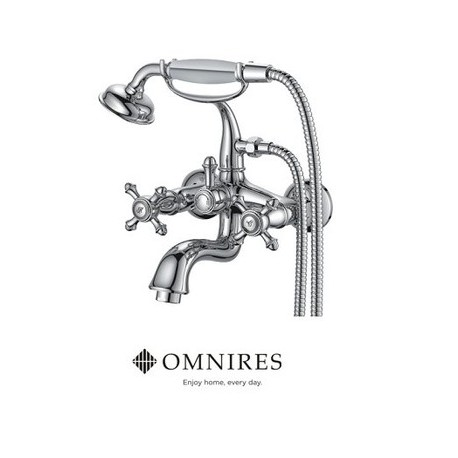 Omnires Retro Bath Mixer Tap Monoblock Chrome Wall Mounted With Shower Head And Hose