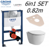Grohe Rapid Sl 0.82m 6in1 Set Wc Frame + Laufen Pro Slim Rimless Wall Hung Toilet Pan With Slim Soft Close Seat
