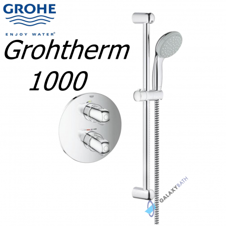 grohe 1000 thermostatic bath shower mixer. grohe grohtherm 1000 thermostatic mixer concealed shower set tempesta riser kit bath