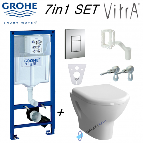Grohe Rapid Sl Wc Concealed Frame + Vitra Zentrum Wall Hung Toilet Pan With Soft Close Seat