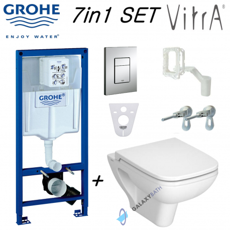 Grohe Rapid Sl Wc Concealed Frame + Vitra S20 Wall Hung Toilet Pan & Soft Close Seat