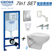 Grohe Rapid Sl 5in1 Wc Concealed  Frame Arley Professional Wall Hung Toilet Pan With Seat