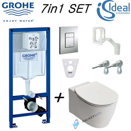 Grohe Wc Frame Ideal Standard Concept Aquablade Wall Hung Toilet Pan Soft Close Seat