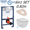 Grohe Rapid SL 0.82m Wc Concealed Frame Ideal Standard Tesi Aquablade Wall Hung Toilet Pan With Slim Soft Close Seat