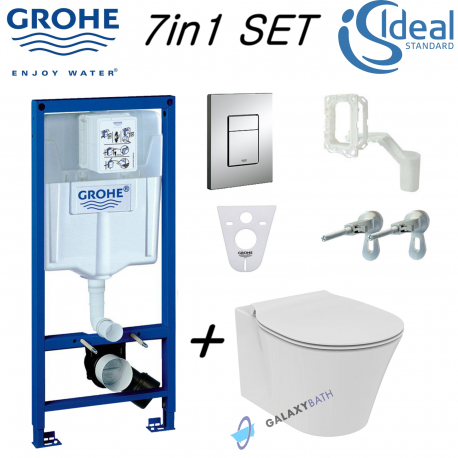 Grohe Rapid Sl Wc Concealed Frame + Ideal Standard Concept Air Aquablade Wall Hung Toilet Pan With Slim Soft Close Seat