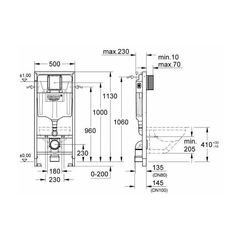 Grohe Rapid Sl Wc Concealed Frame Ideal Standard Concept