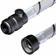 """Stuart Turner Anti-Vibration Flexible Pipe Connection 3/4"""" BSPF/22mm Push In With Isolating Valve"""