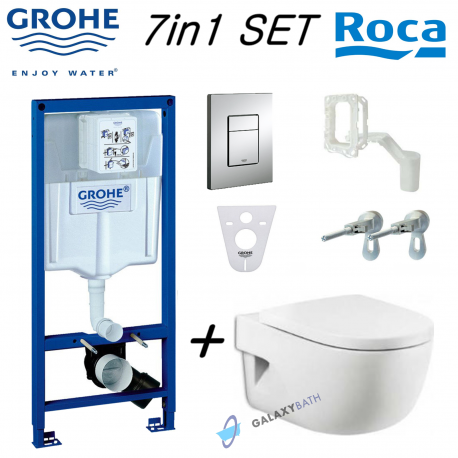 Grohe Rapid Sl Wc Concealed Frame Fresh System + Roca Meridian Wall Hung Toilet Pan With Soft Close Seat
