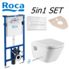 Roca Pro Duplo Wall Hung Concealed Toilet Cistern Dual Flush Frame 6/3L + Roca Gap Toilet Pan With Soft Close Seat + Flush Plate