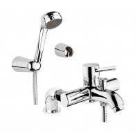Vitra Minimax Bath Shower Mixer Tap + Shower Kit Two 2 Hole Chrome