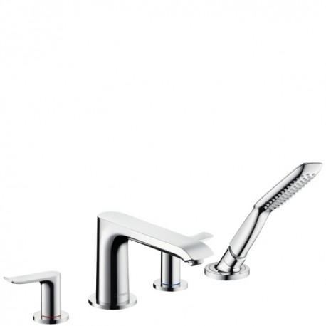 Hansgrohe  Metris 4-hole rim-mounted bath and shower mixer