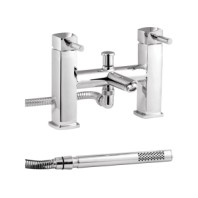 Arley Eazee Square Mono Bath Filler Mixer Tap  2 Two Hole With Shower Kit