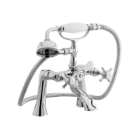 Arley Edwardian Victorian Traditional Retro Bath Shower Mixer Tap 2 Two Hole With Shower Kit
