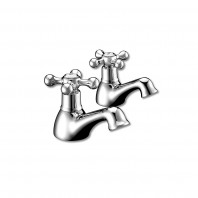 Synergy Tec Studio Pillar Pair Of Traditional Victorian Retro Basin Mixer Taps