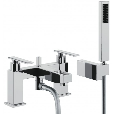 Abode Marino Deck Mounted Bath Shower Mixer Tap 2 Two Hole With Shower Kit