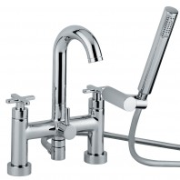 Abode Serenitie Bath Filler Mixer Tap 2 Two Hole Swan Spout With Shower Kit