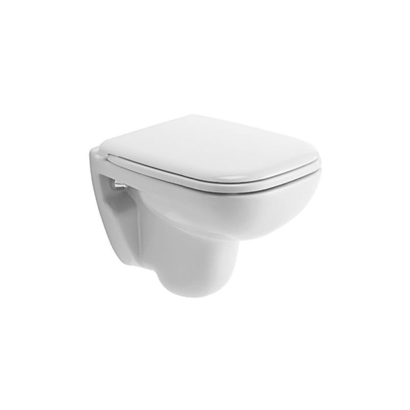 duravit d code set white wall hung wc toilet pan with soft close seat. Black Bedroom Furniture Sets. Home Design Ideas