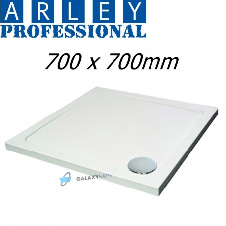 ARLEY HYDRO 45 WHITE STONE RESIN SQUARE SHOWER TRAY SLIMLINE 700x700x45mm 90mm