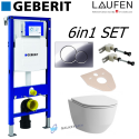 Geberit Duofix UP320 Sigma Cistern Wc Frame+ Laufen Pro Rimless Wall Hung Toilet Pan With Slim Soft Close Seat