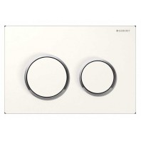 Geberit OMEGA20 Dual Flush Plate For 120mm Omega 12 Cistern White Gloss Chrome