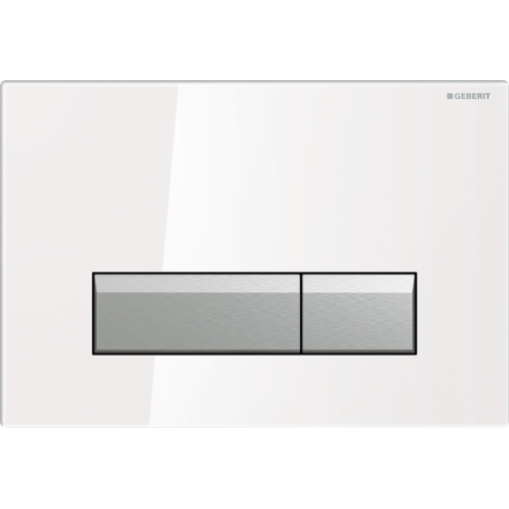 Geberit SIGMA40 Dual Flush Plate Integrated Odour Extraction for 80mm and 120mm Sigma Cisterns White Gloss