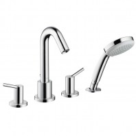 Hansgrohe Talis 4-hole bath mixer with lever handles, escutcheons and long spout with hand shower