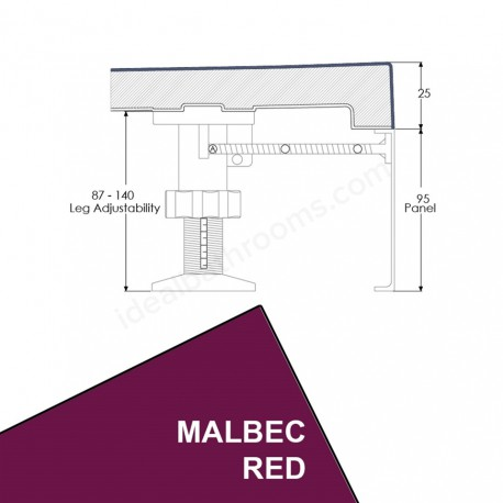 Just Trays Evoled Quadrant Riser Panel Kit for Trays up-to 1000mm Wide Malbec Red