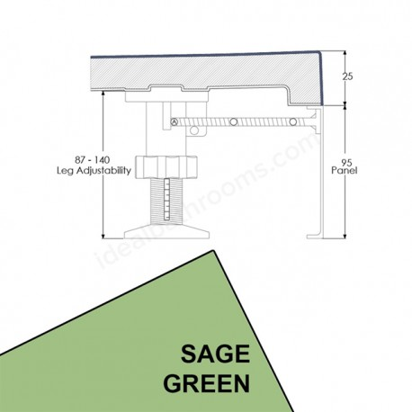 Just Trays EVOLVED Quadrant Riser Panel Kit For Trays Up-To 1000mm Wide Sage Green