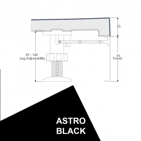 Just Trays Evolved Rectangular Riser Panel Kit For Trays Up-To 1800mm Wide Astro Black