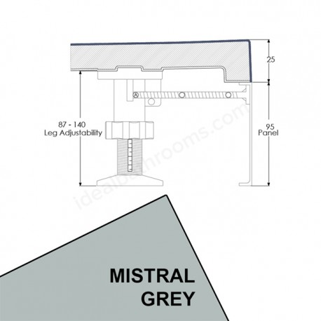 Just Trays Evolved Rectangular Riser Panel Kit For Trays Up-To 1800mm Wide Mistral Grey