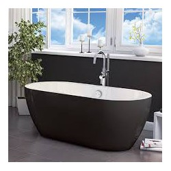 Synergy San Marlo Black Modern Freestanding Bath 1655 x 750 x 580mm