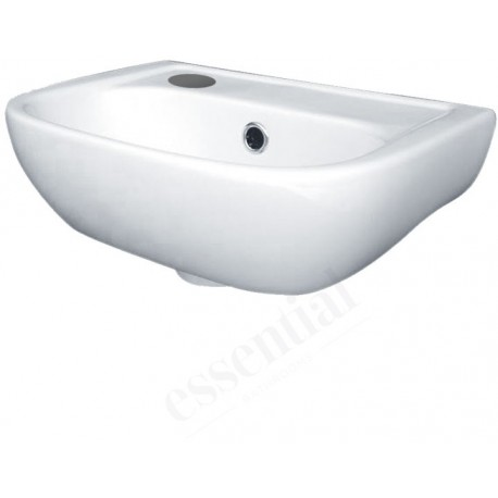 Essential Fuchsia Handrinse Basin Only Left Handed 380mm Wide 1 Tap Hole White