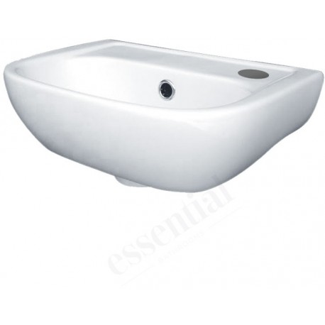 Essential Fuchsia Handrinse Basin Only Right Handed 380mm Wide 1 Tap Hole White