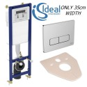 Ideal Standard Wc Frame Cistern Concealed Toilet Wall Hung Chrome Plate Button