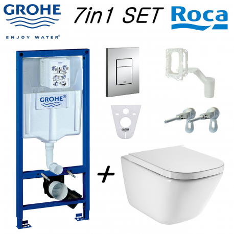 Grohe Rapid Sl Wc Frame + Roca Gap Rimless Wall Hung Toilet Pan Wit