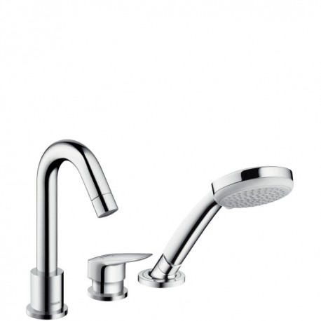 Hansgrohe  Logis 3-hole rim mounted single lever bath mixer with Secuflex