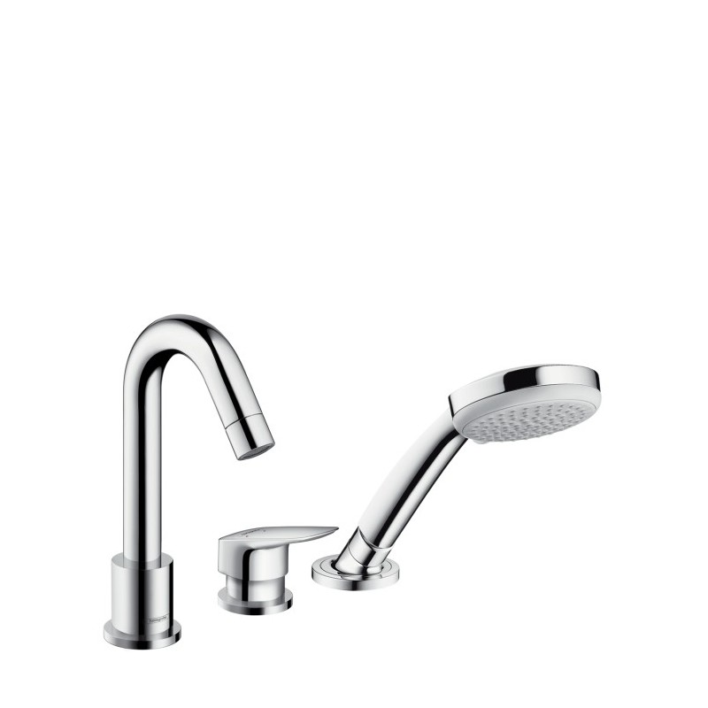 Hansgrohe Logis 3-hole rim mounted single lever bath mixer with Sec...