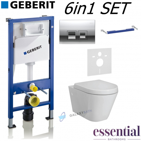 COMPLETE GEBERIT UP100 WC FRAME + DELTA 50 FLUSH PLATE + ESSENTIAL IVY RIMLESS WALL HUNG TOILET PAN WITH SOFT CLOSE SEAT 6IN1 SE